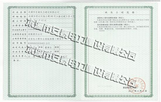 遼寧華泰電力實業有限公司榮譽證書